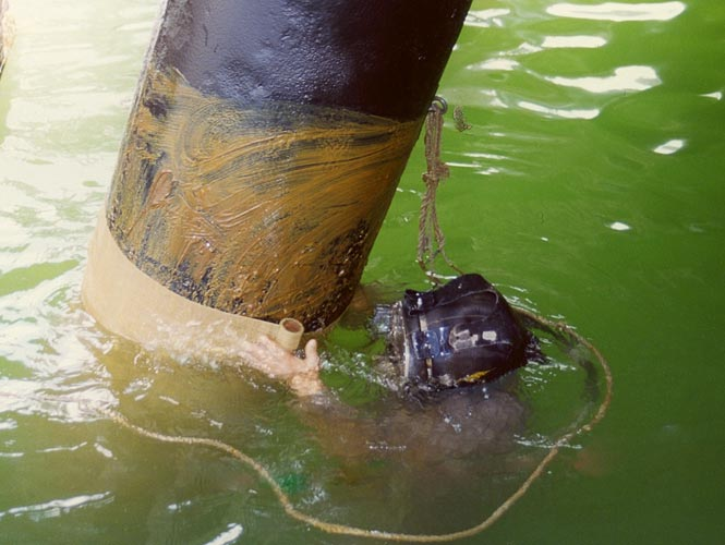 Steel pilings being wrapped with a marine grade petrolatum wax tape from Denso