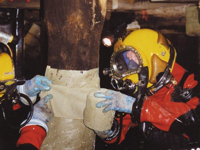 Timber pile rehabilitation using Denso Marine Piling Tape
