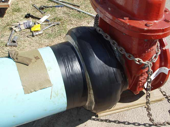 Denso utility tape applied to fire hydrant