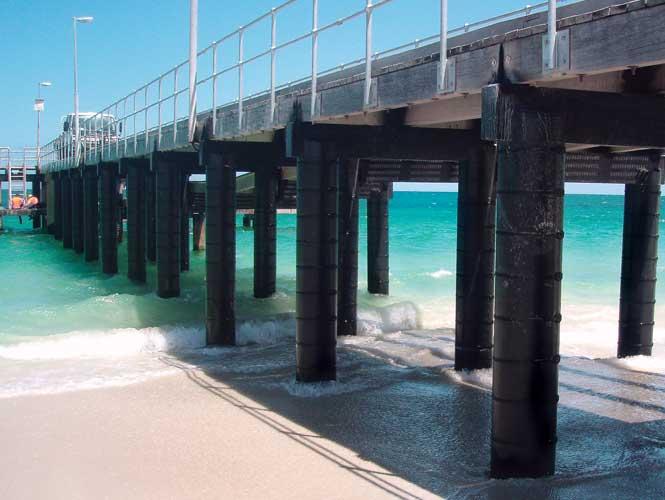 SeaShield 100 on boardwalk piles