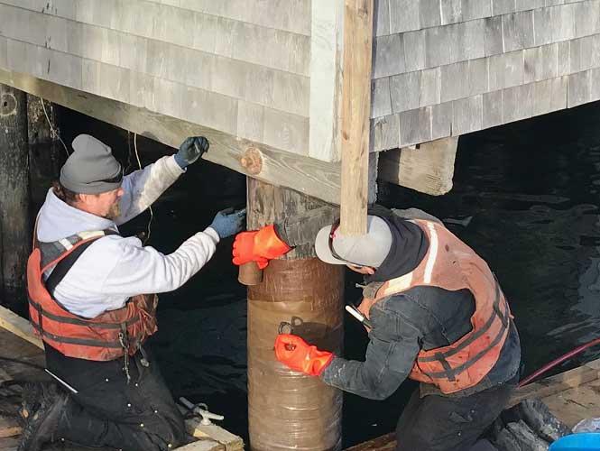 SeaShield Series 70 being installed under a building